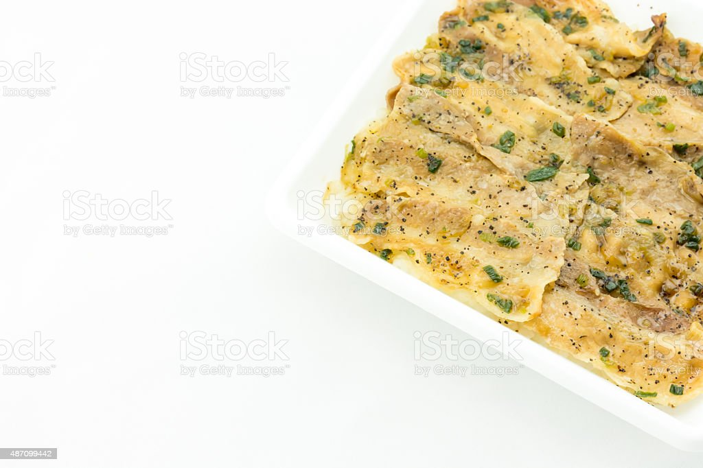 Salt and Black Pepper Grilled Pork with Japanese Rice stock photo