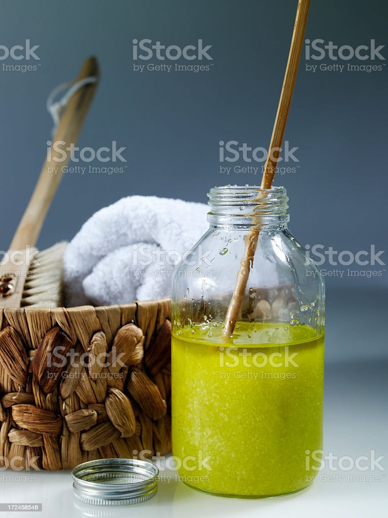 Salt and oliveoil scrub stock photo