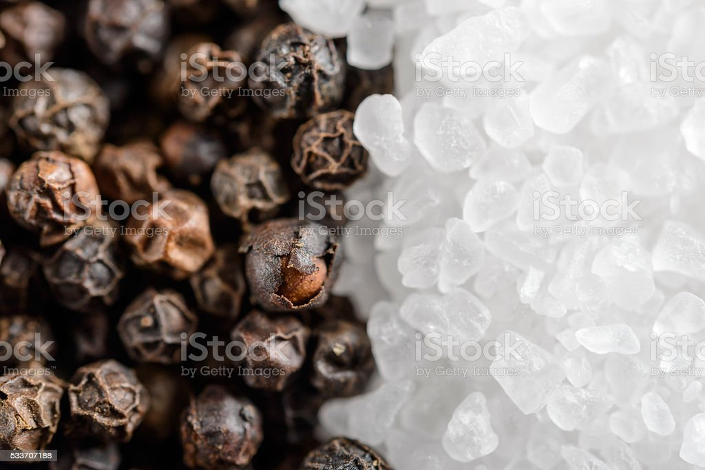 Salt and Pepper close up stock photo