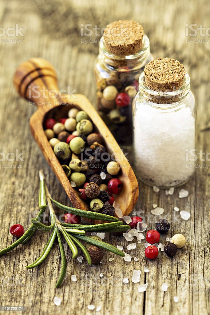 Salt and pepper on wooden table royalty-free stock photo