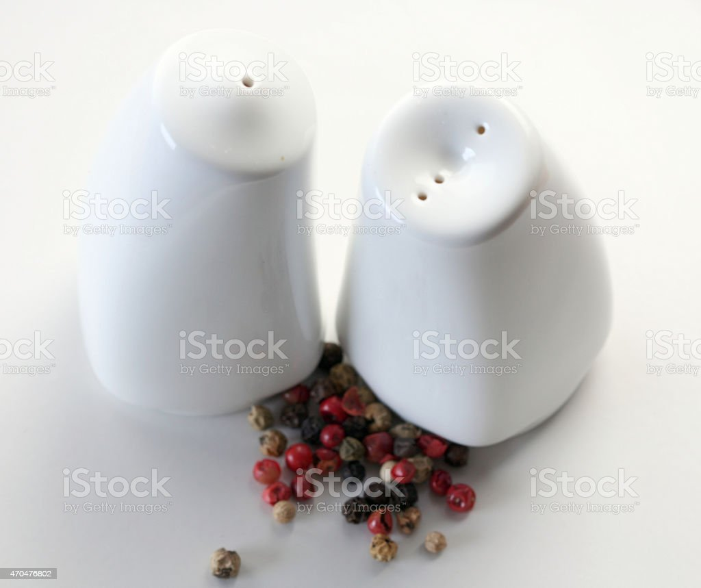 Salt and pepper pots stock photo