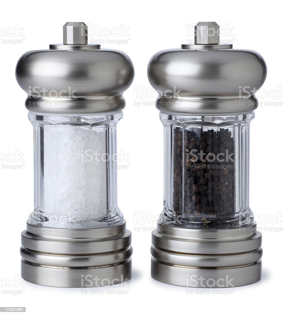 Salt and Pepper Shaker Isolated on White royalty-free stock photo
