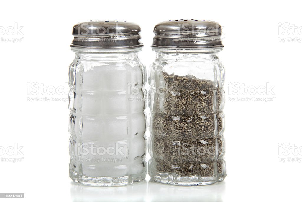 Salt and pepper shakers on white stock photo