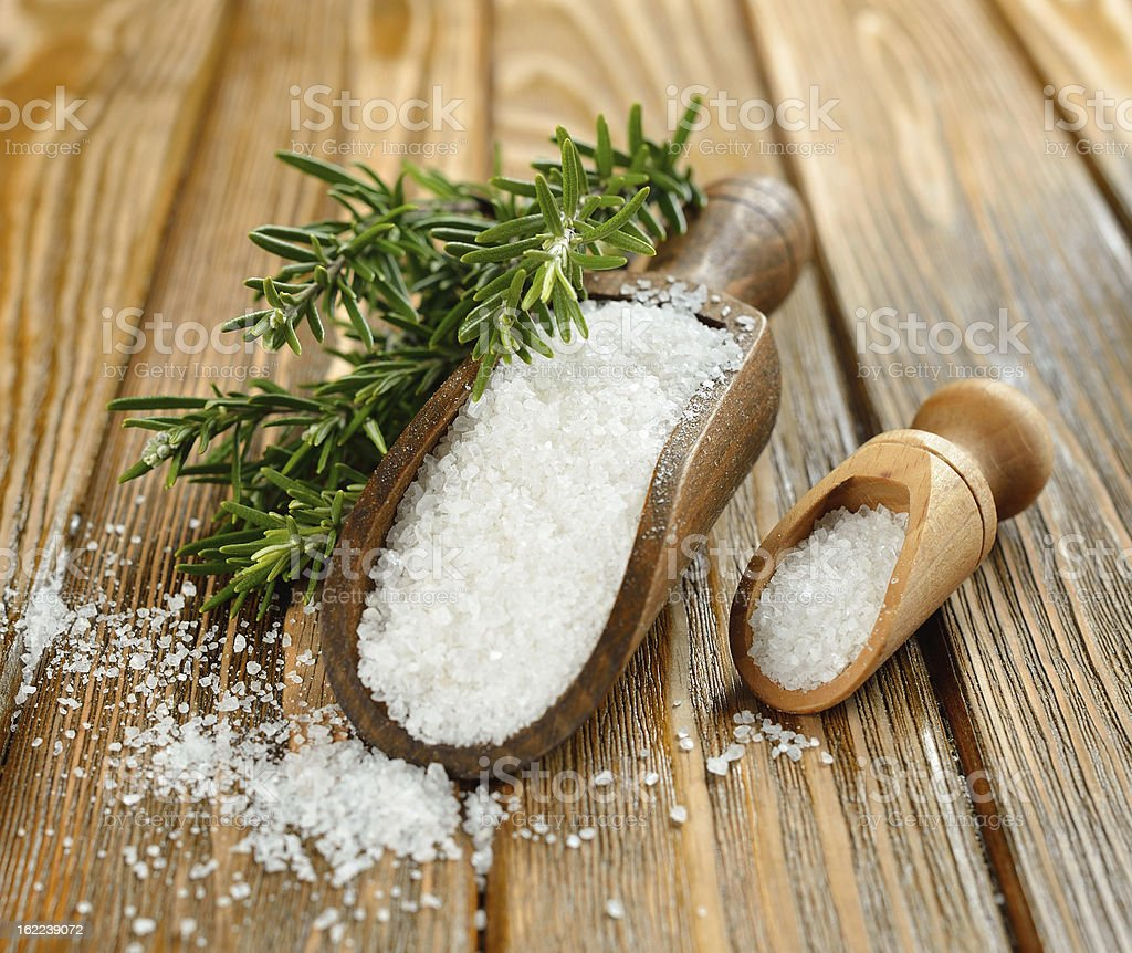 Salt and rosemary royalty-free stock photo