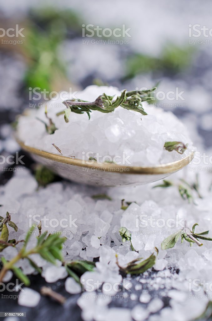 Salt and thyme stock photo