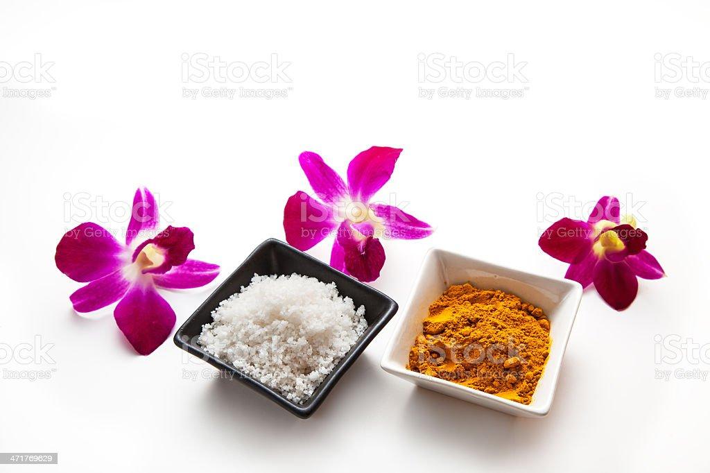 Salt and Turmeric Scrub royalty-free stock photo