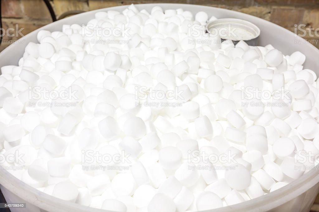 salt blocks for softener stock photo