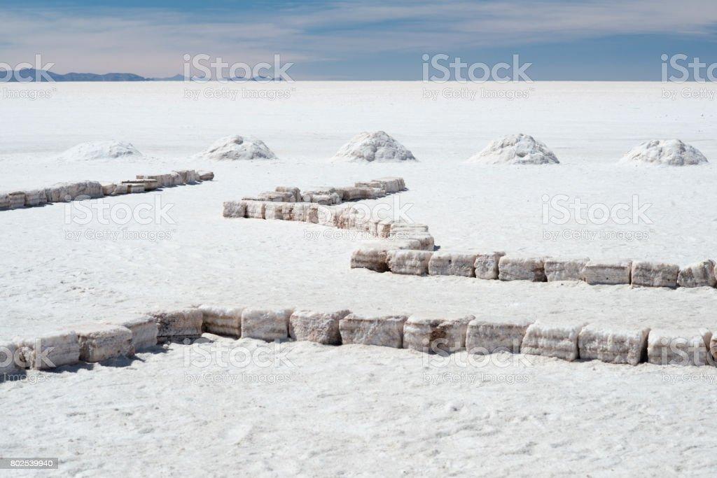 Salt bricks and piles of salt on the world's largest salt flats Salar de Uyuni, Bolivia stock photo