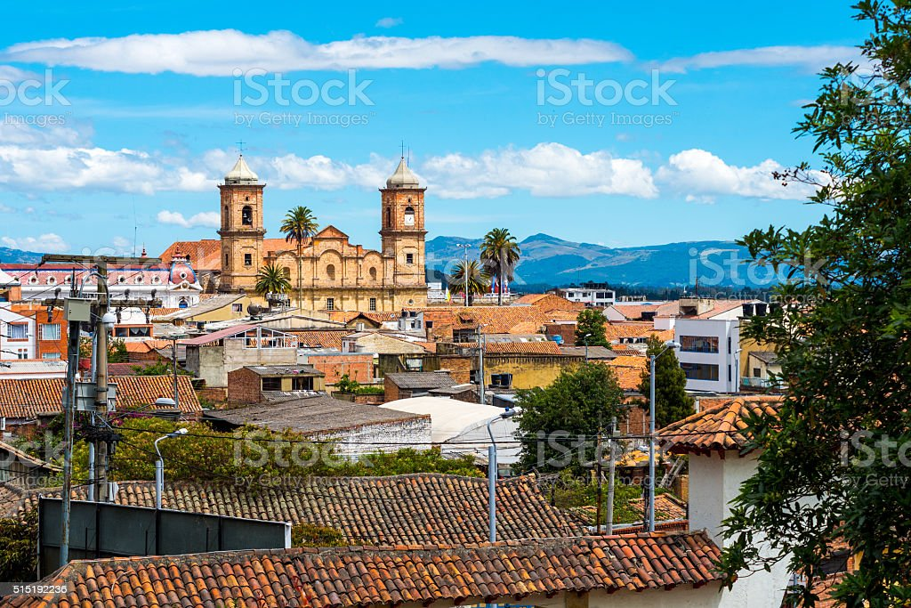 Salt Cathedral of Zipaquira view from afar stock photo