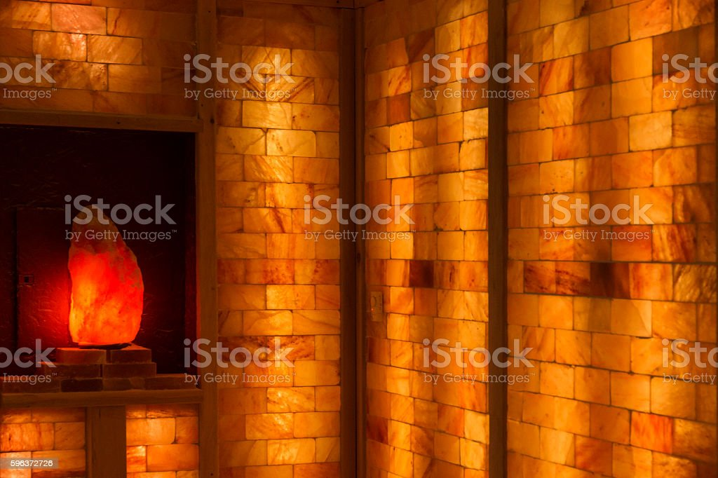 Salt cave chamber for halotherapy stock photo