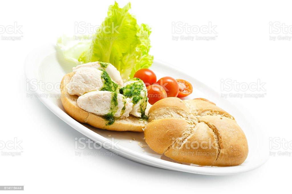 Salt brandade bacalhau com molho de salsinha, com pão foto royalty-free