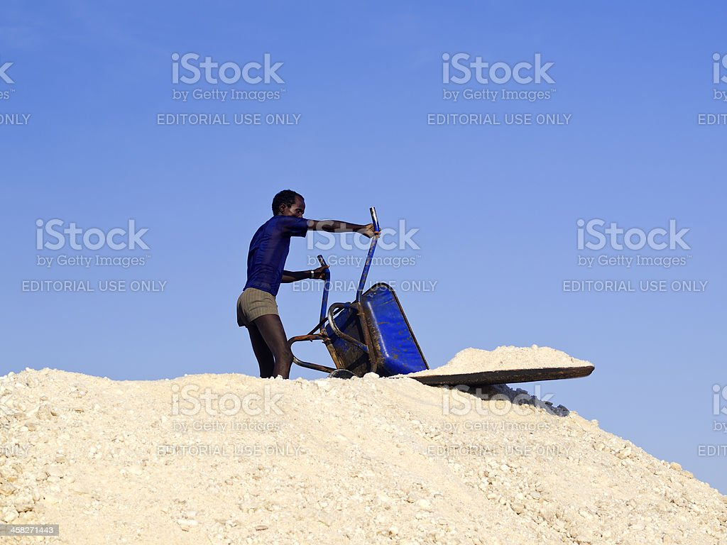 Salt collecting stock photo