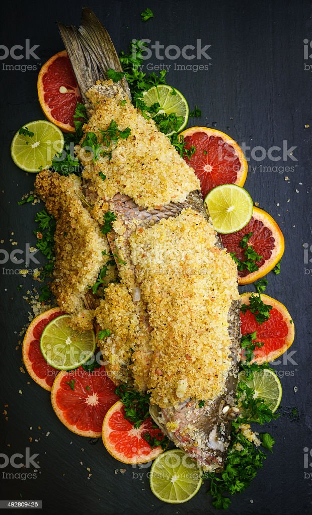 Salt crusted snapper stock photo
