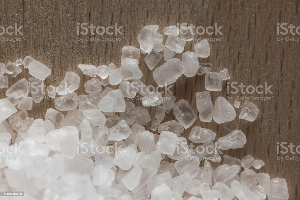 Salt crystals  close up. Directly above view. stock photo