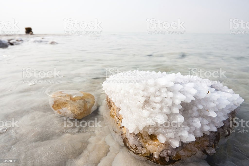 Salt crystals formed on a rock at the Dead Sea stock photo