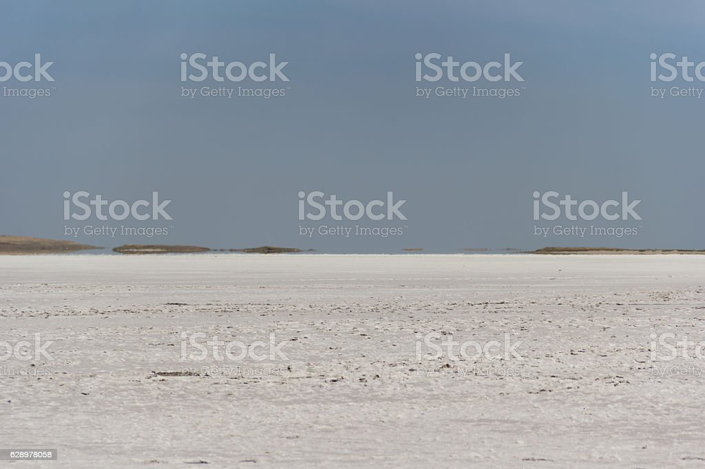 Salt dry and cracked lake at Dzhankoy stock photo