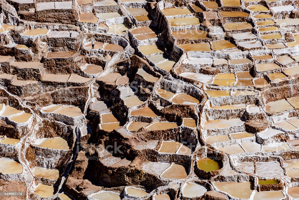 Salt evaporation ponds of Maras, Peru stock photo