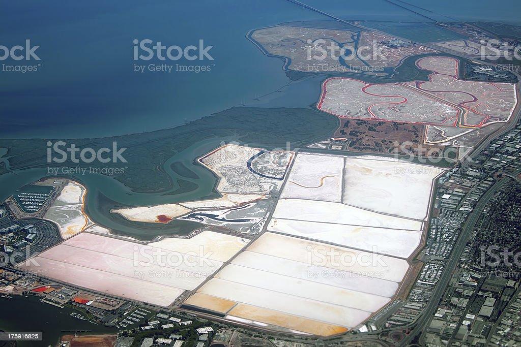 Salt evaporation ponds royalty-free stock photo