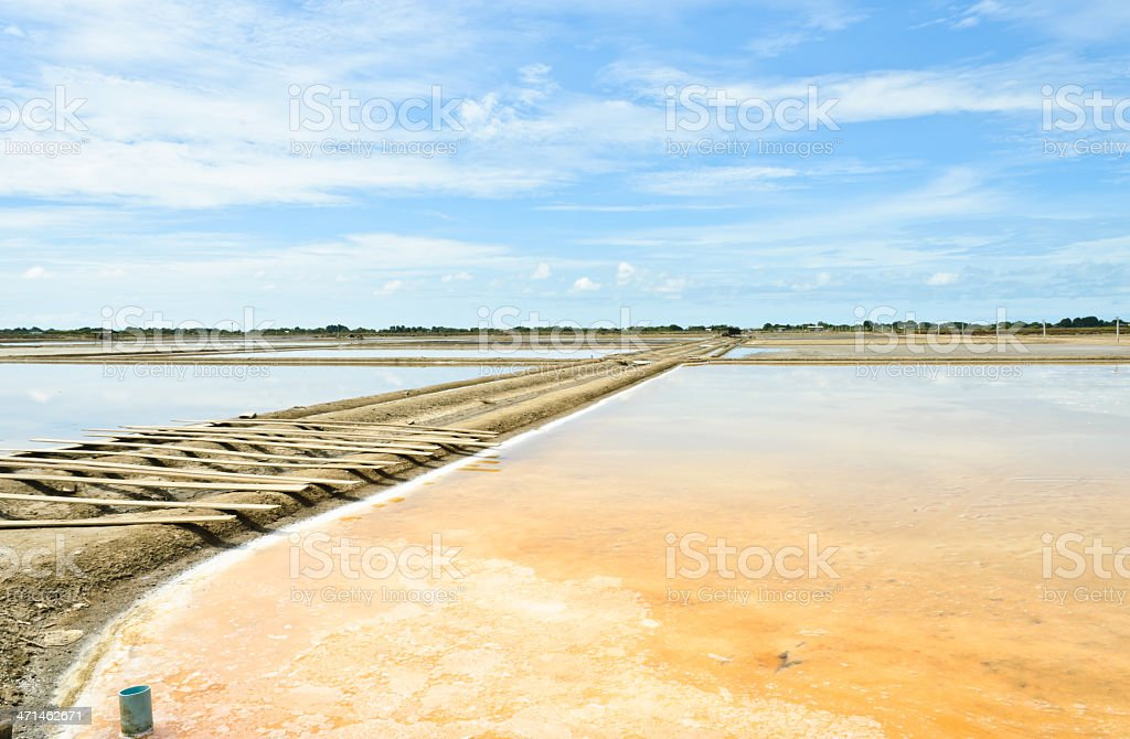 Salt evaporation ponds stock photo