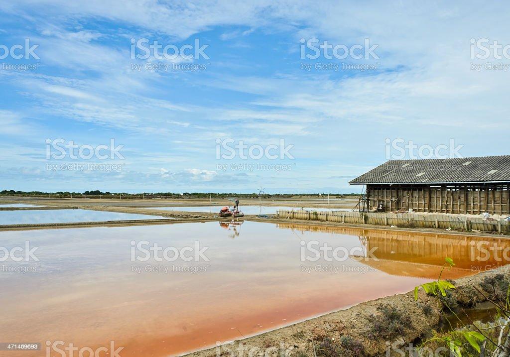 Salt evaporation ponds stock photo