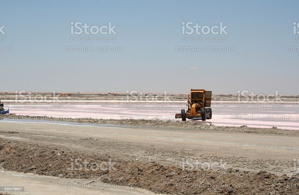 Salt evaporation ponds with red Microorganisms, Swakopmund, Namibia stock photo
