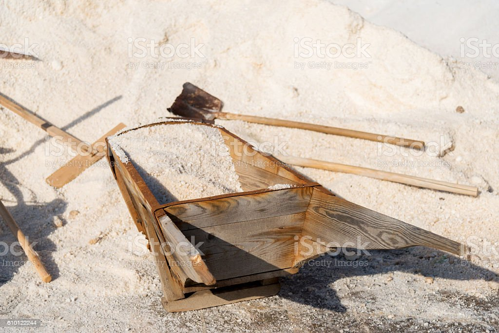 salt extraction by traditional technology stock photo