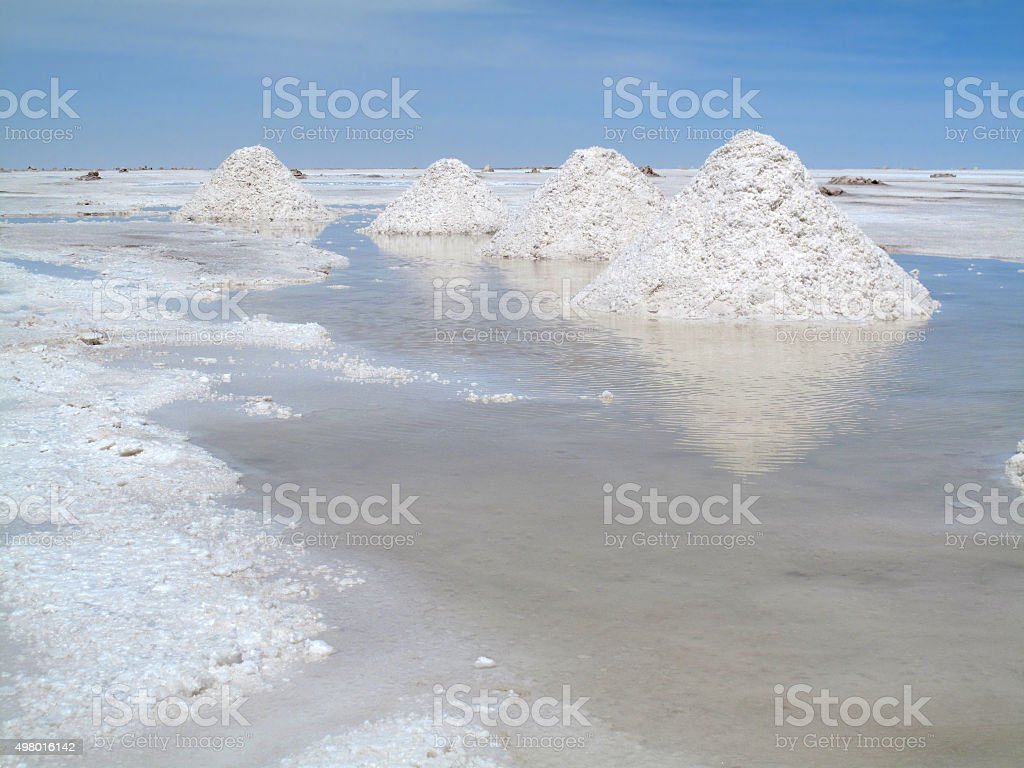 Salt extraction stock photo
