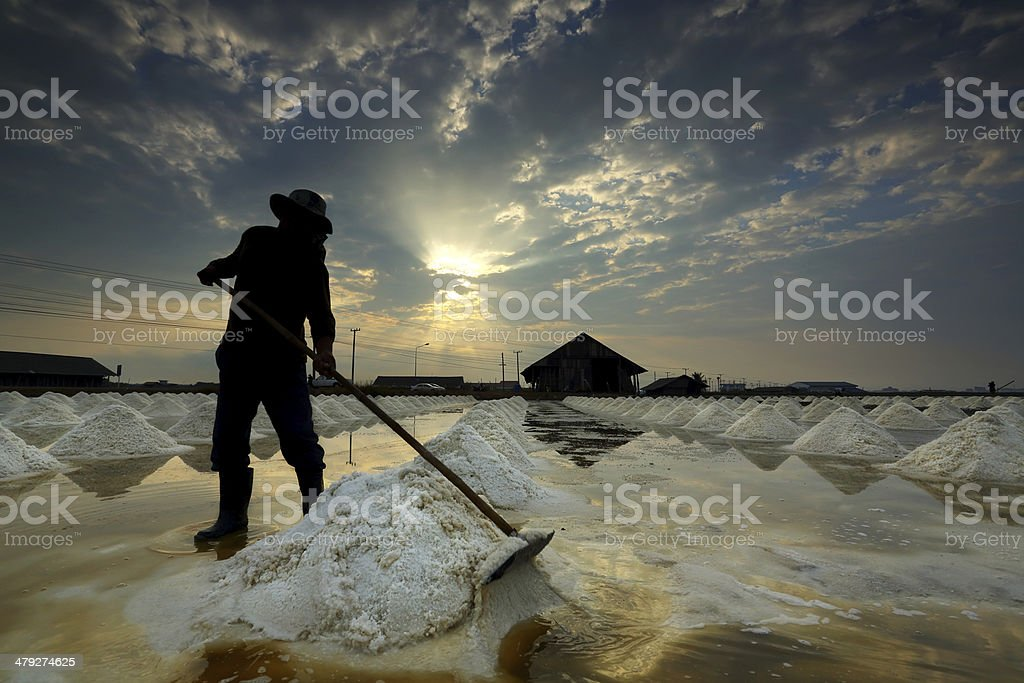 Salt farm, Thailand stock photo