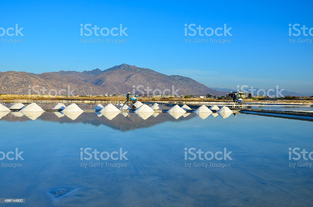 salt field in Ca na, Ninh Thuan, Vietnam stock photo