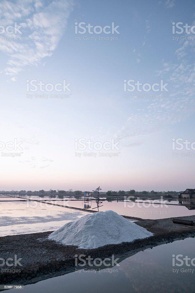 Salt field or salt farm in Sidoarjo, Indonesia. stock photo