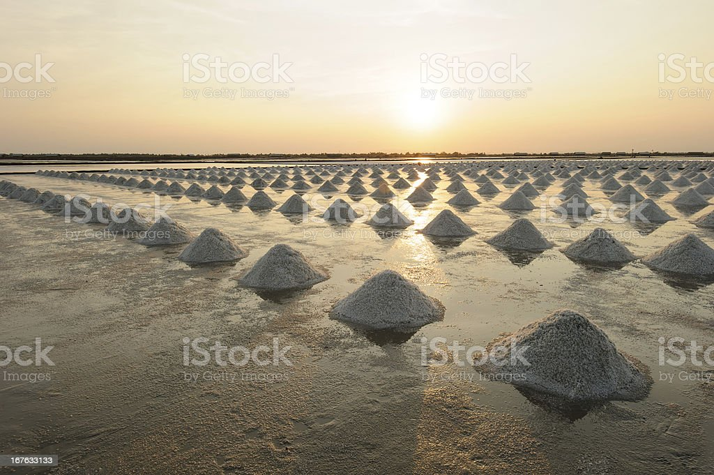 Salt fields, Phetchaburi, Thailand royalty-free stock photo