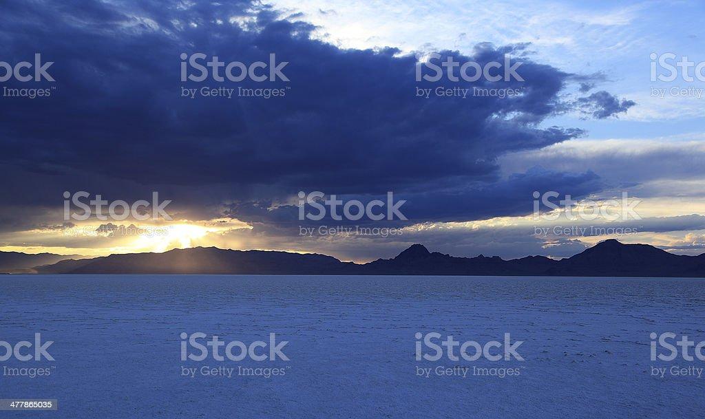 Salt Flat Light Rays stock photo