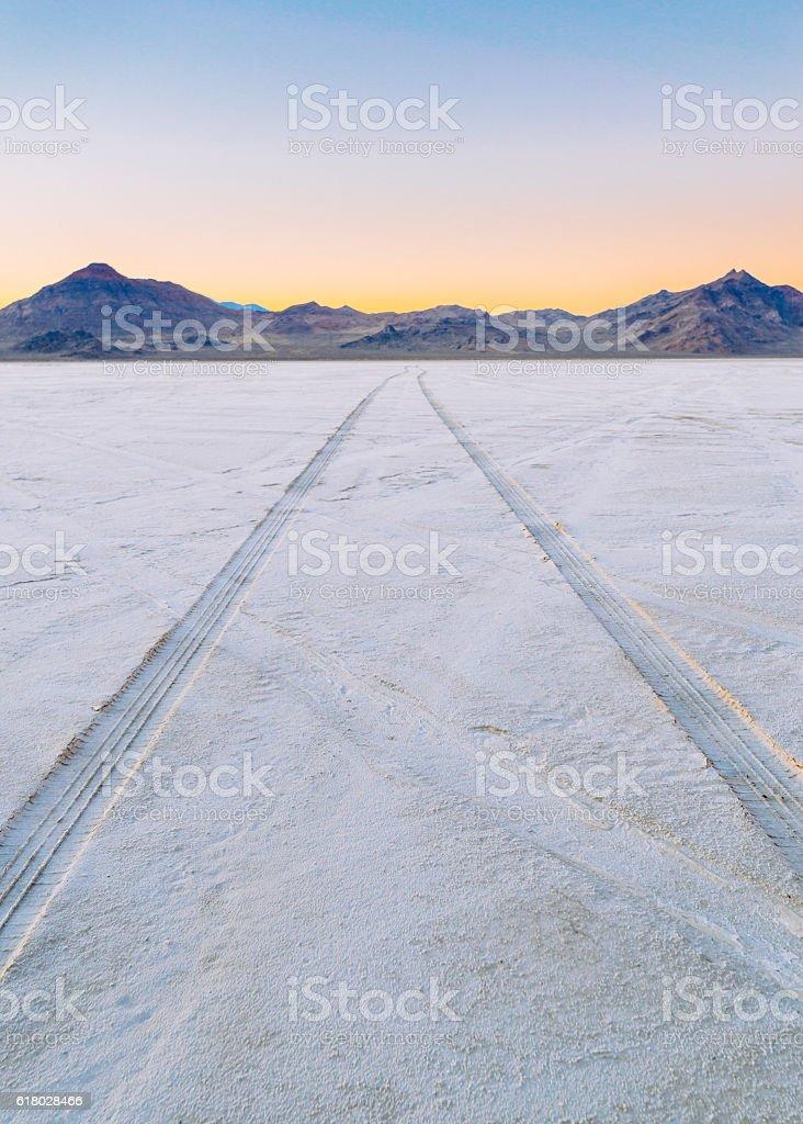 Salt Flats Tracks stock photo