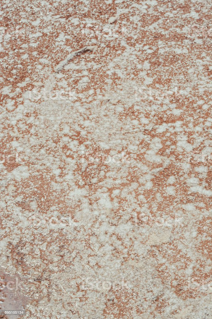 Salt formation in a water pond. stock photo