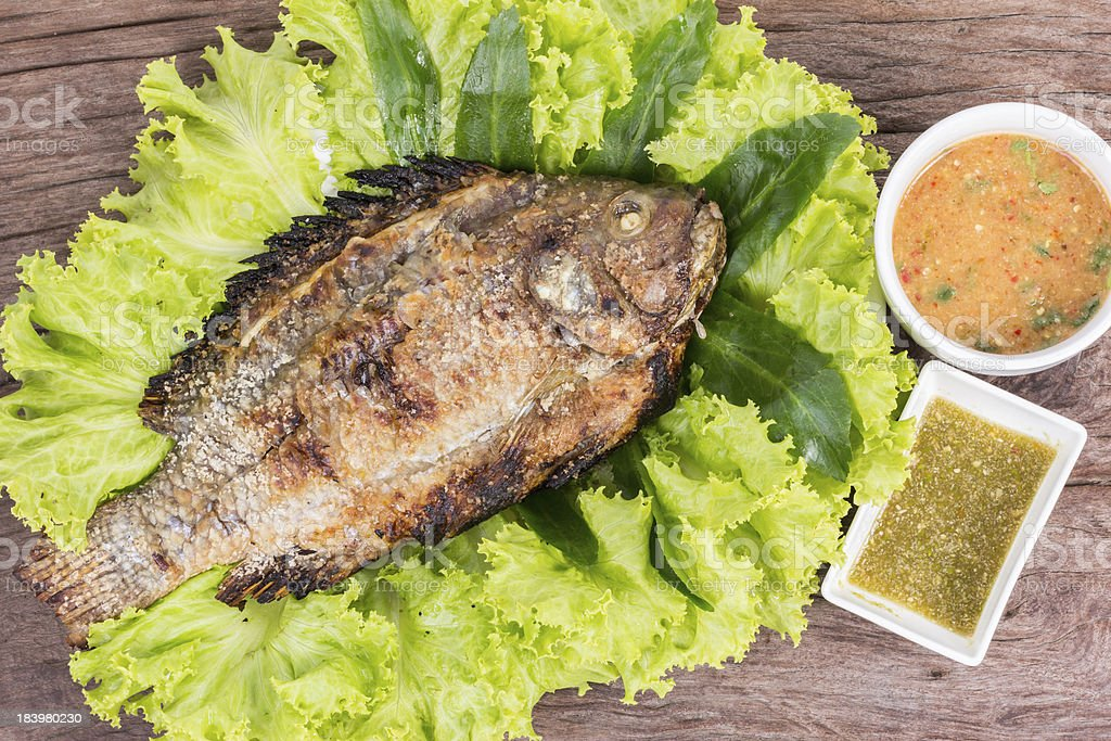 salt grilled fish local foods of thailand stock photo