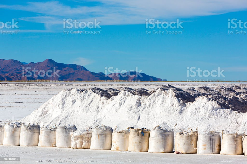 Salt industry in Salinas Grande, Jujuy Province, Argentina stock photo