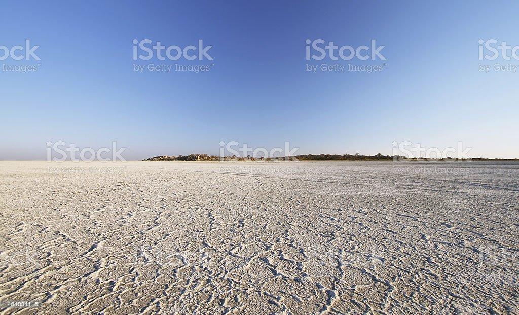 Salt lake around Kubu island in winter stock photo