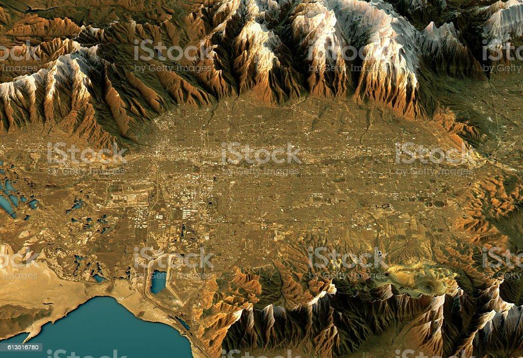 Salt Lake City 3D Landscape View West-East Natural Color stock photo