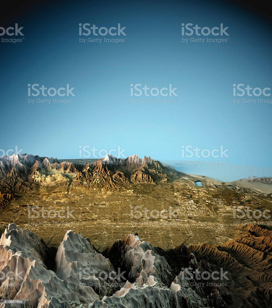 Salt Lake City 3D View East To West Natural Color stock photo