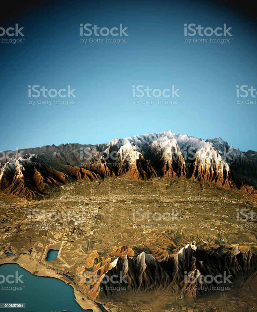 Salt Lake City 3D View West To East Natural Color stock photo