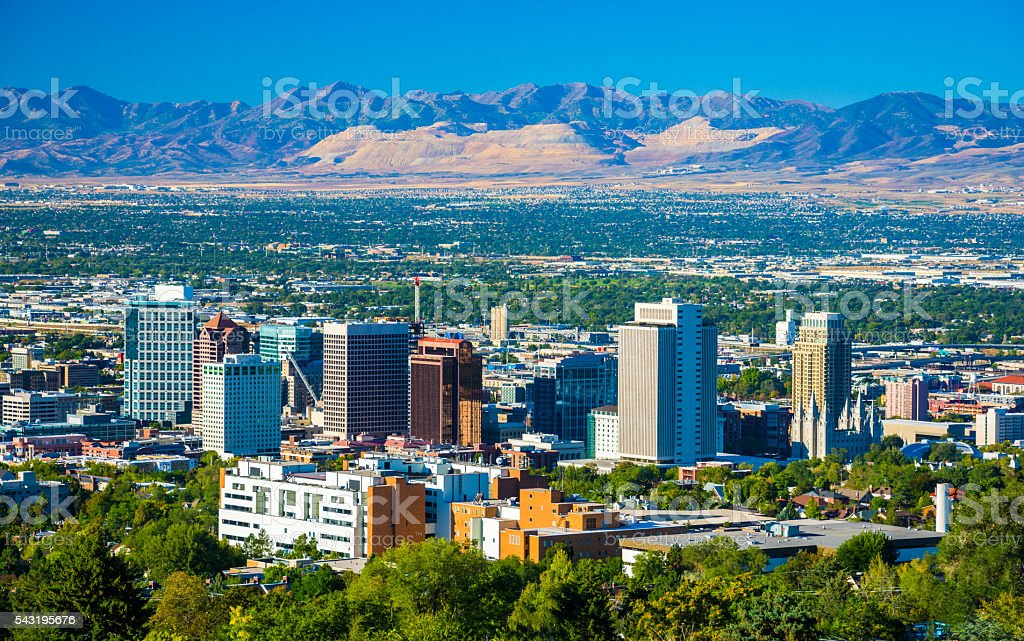 Salt Lake City Aerial with Mountains stock photo