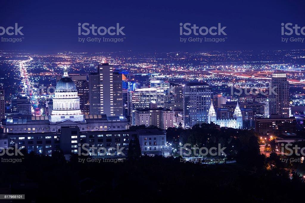 Salt Lake City at Night stock photo