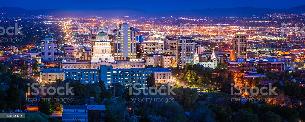 Salt Lake City downtown landmarks illuminated dusk panorama Utah USA stock photo