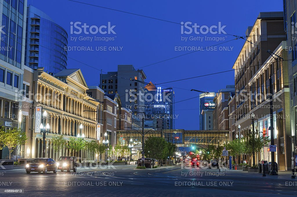 Salt Lake City downtown lights at night Utah stock photo