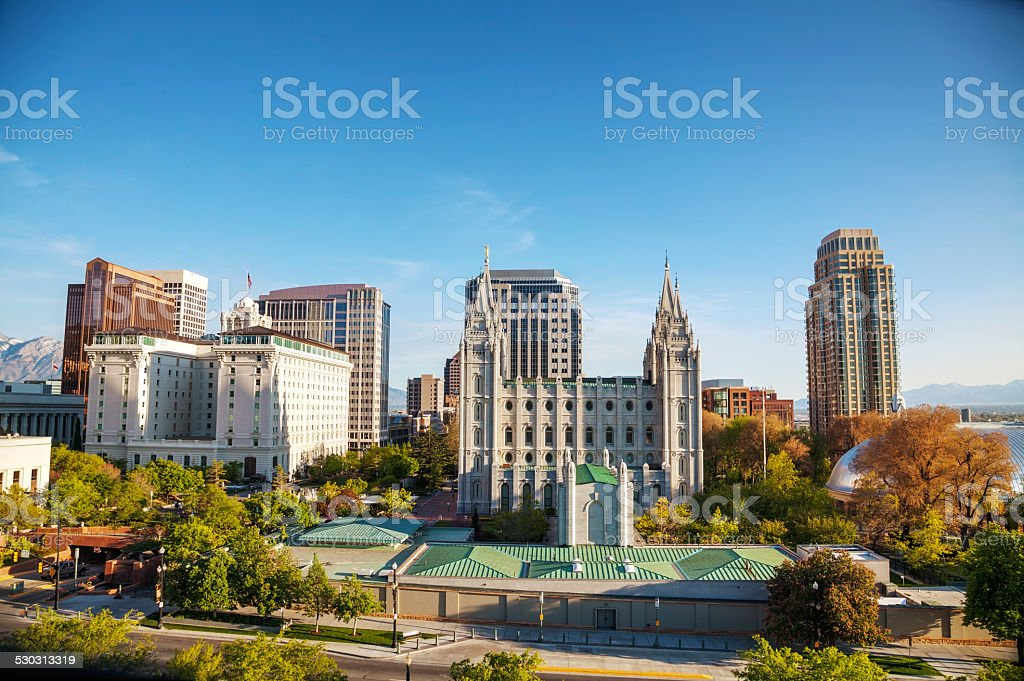 Salt Lake City downtown overview stock photo
