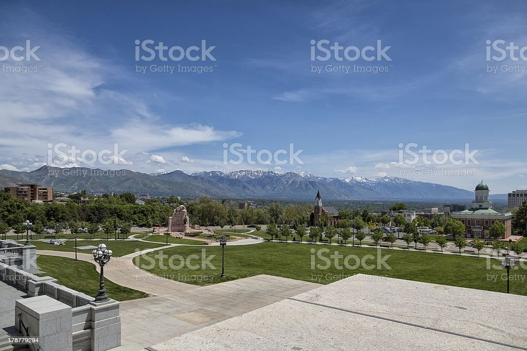 Salt Lake City From the State Capital stock photo