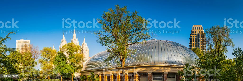 Salt Lake City iconic landmarks panorama Mormon temple tabanacle Utah stock photo