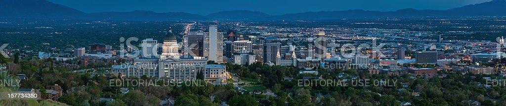 Salt Lake City landmark panorama illuminated at dusk Utah royalty-free stock photo