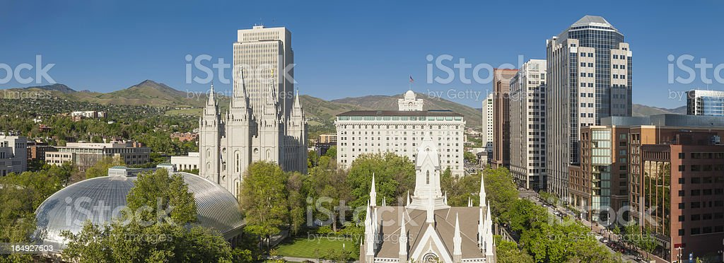 Salt Lake City Mormon Tabernacle Temple Square downtown panorama Utah stock photo