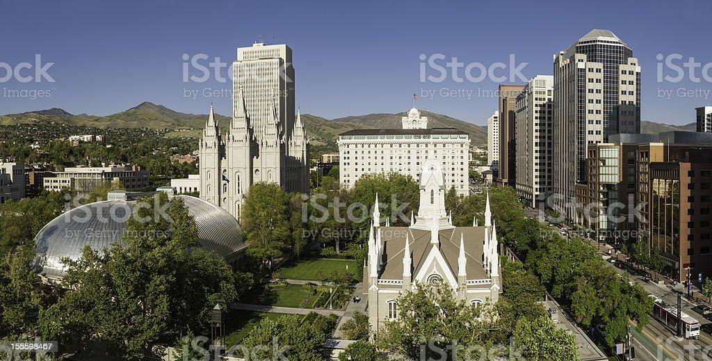 Salt Lake City Mormon Tabernacle Temple Square Utah stock photo